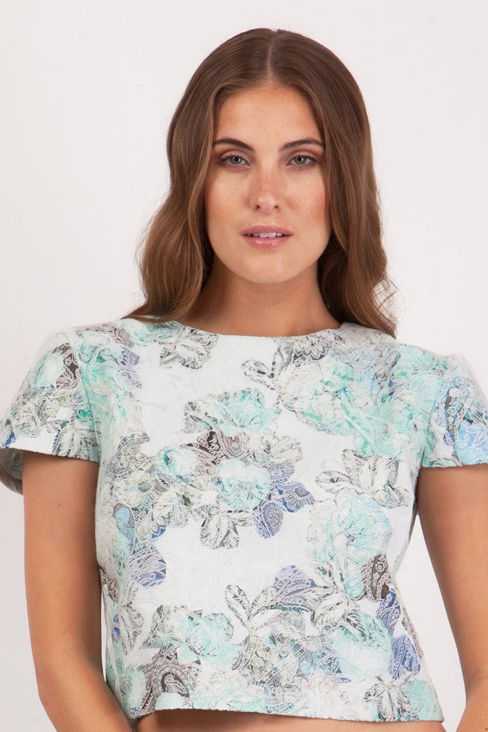 Hybrid Fashion 1099 Cerys Mint Jacquard Cropped Top