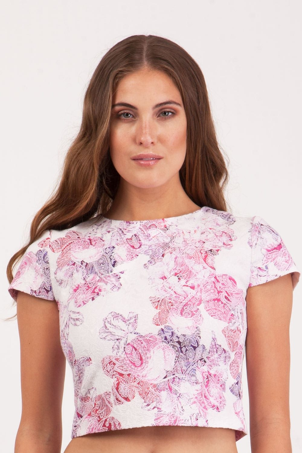 Hybrid Fashion 1099 Cerys Cropped Pink Jacquard Top