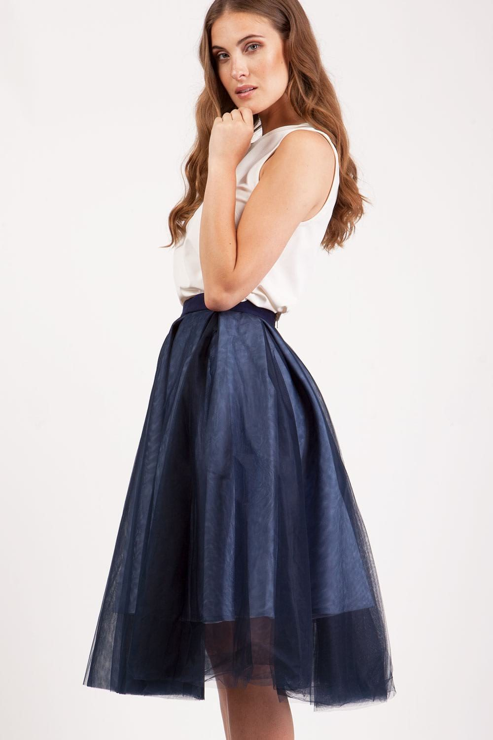 Hybrid Fashion 1137 Ellie Tulle Navy Midi Skirt