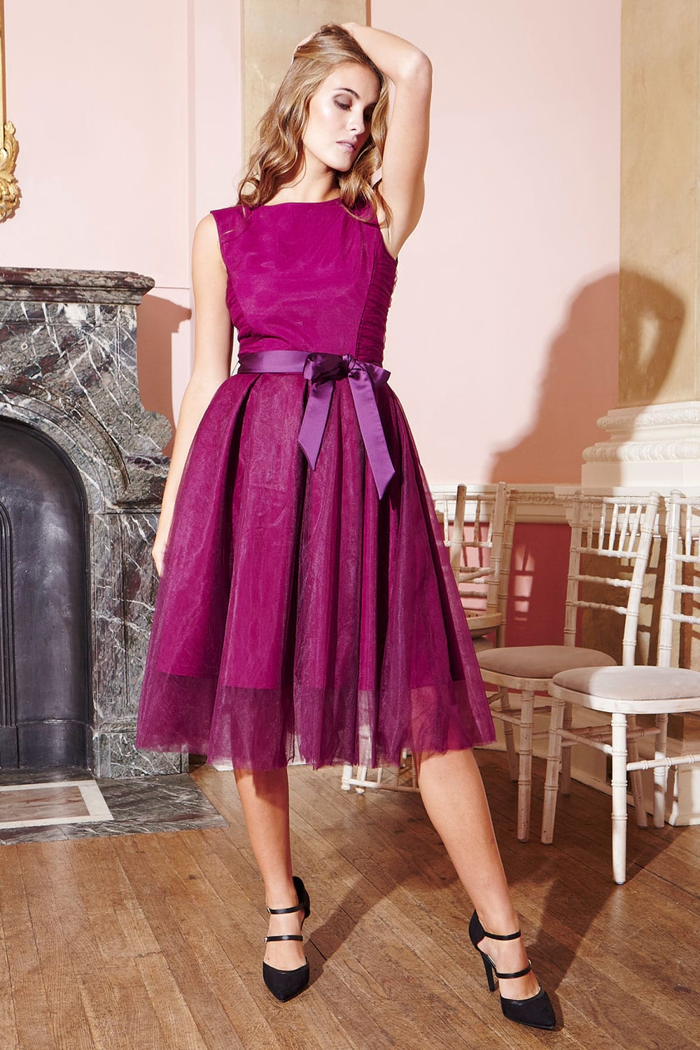 Hybrid Fashion 1183 Edith Magenta Tulle Full Skirt Dress with Satin Waisttie