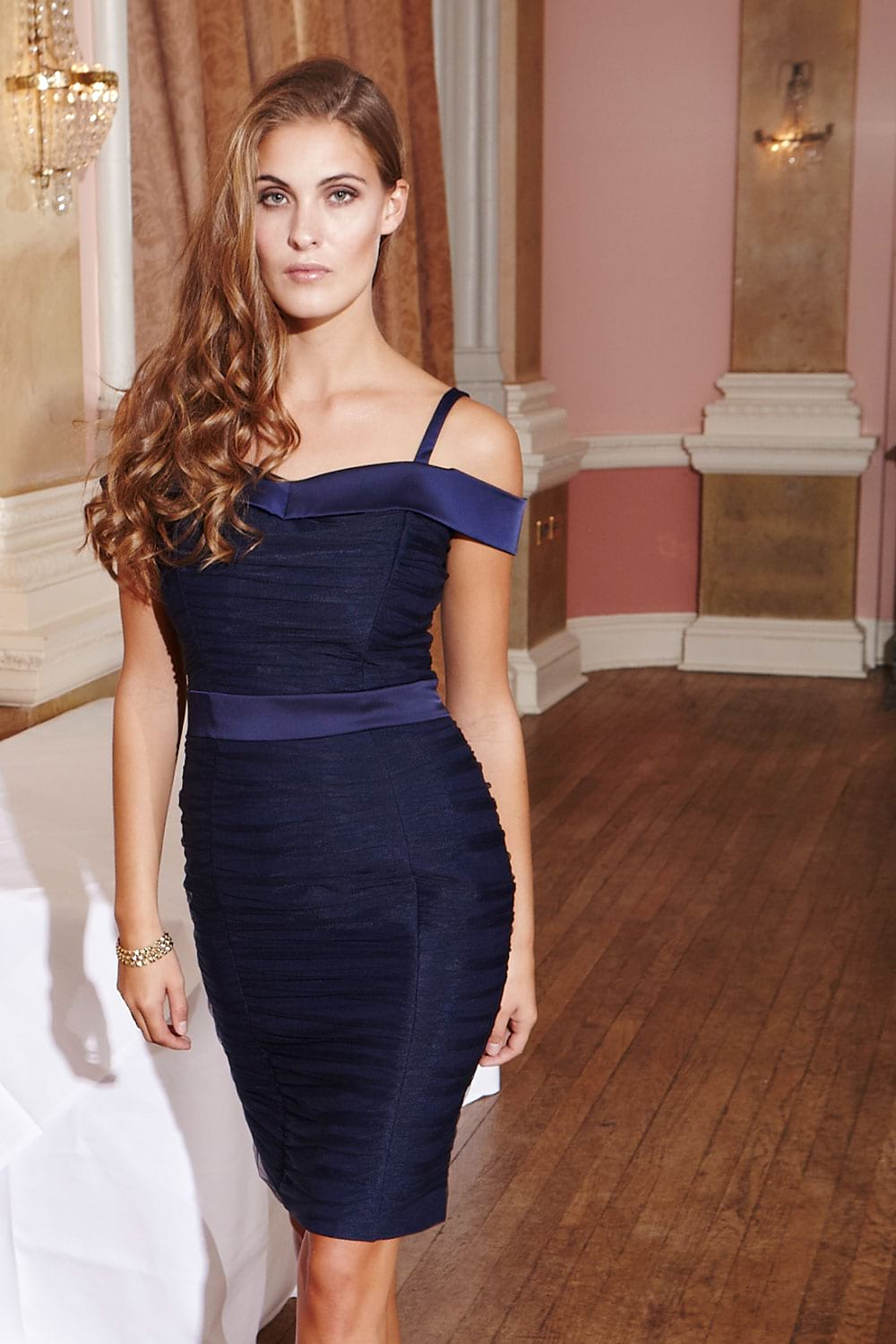 Hybrid Fashion Vivien 1184 Navy Tulle Ruched Bodycon Dress