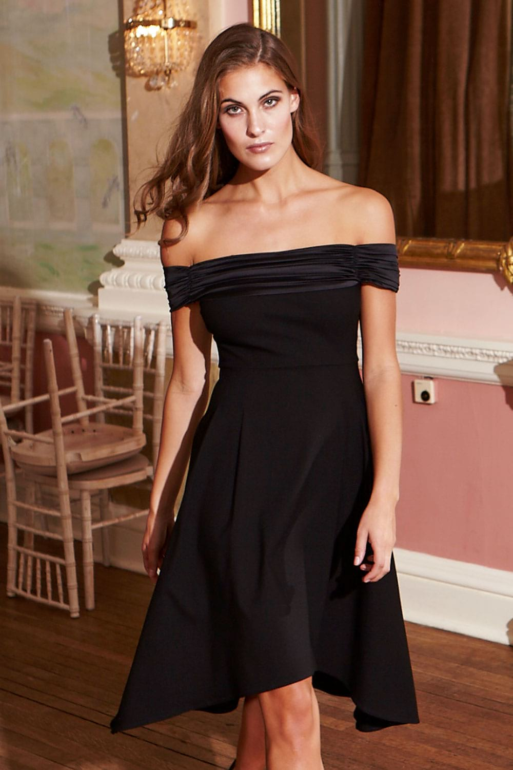 Hybrid Stella 1186 Black Bardot Off Shoulder Dip Hem Dress