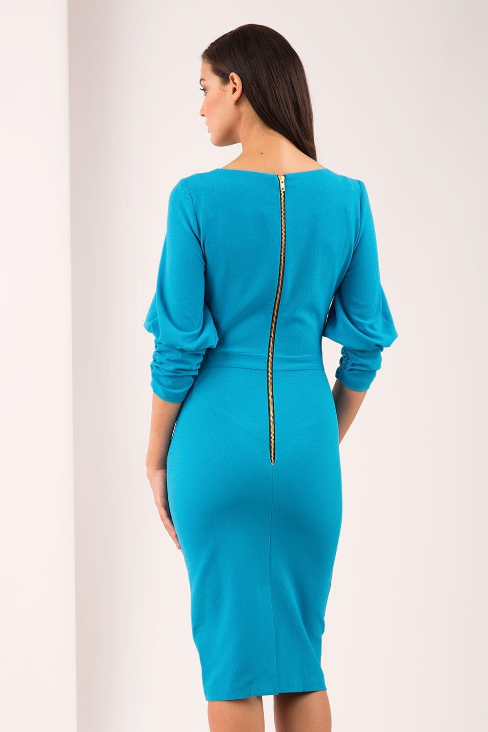 Hybrid Fashion Faith 1372 Pencil Dress with Ruched Sleeves