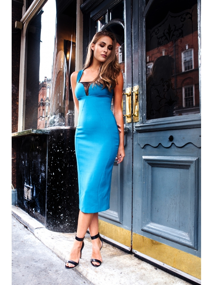 Hybrid 1229 Erin Teal Crepe Cord Lace Dress