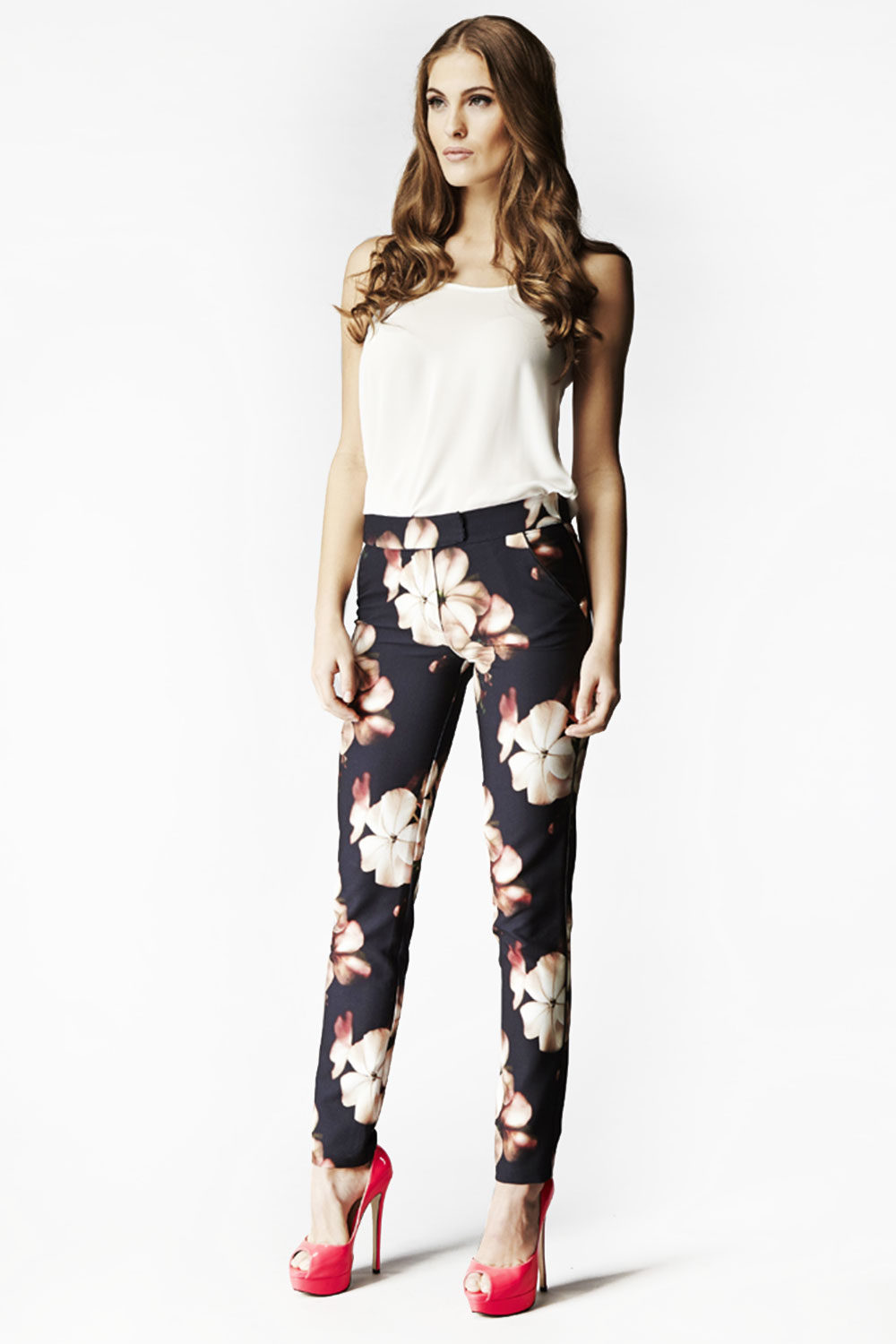 Hybrid Fashion Trixie 1084 Black Floral Cigarette Trousers