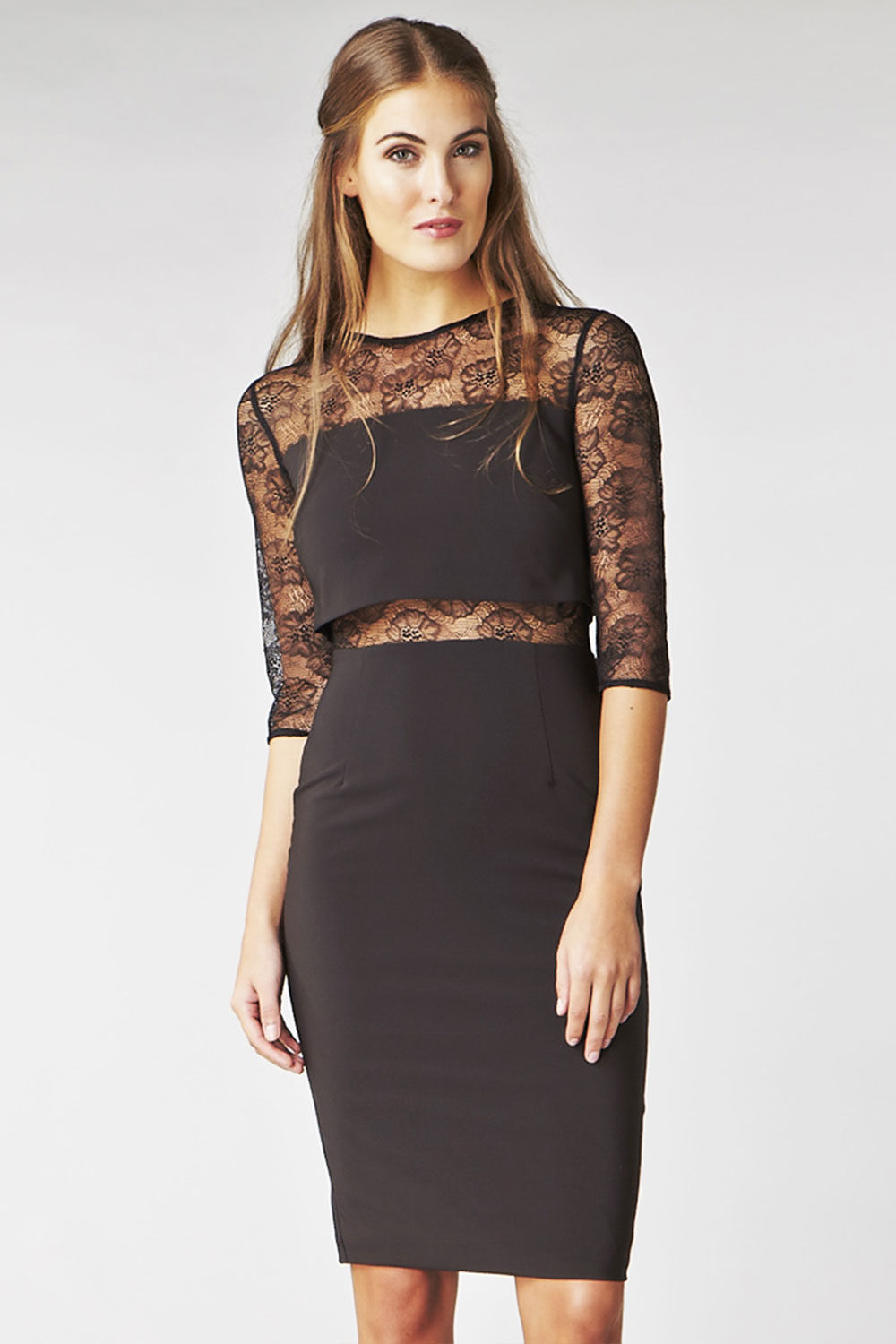 Hybrid Fashion 1126 Kusum Black Lace Pencil Dress