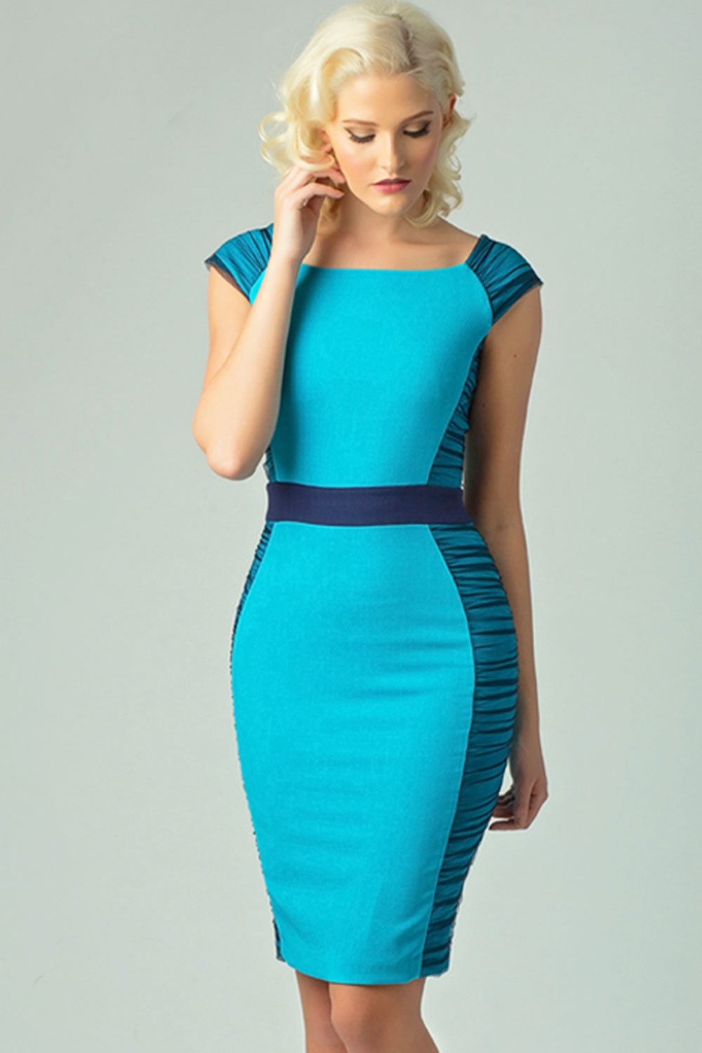 Hybrid Fashion 1152 Aldona Azure Blue Tulle Bodycon Dress