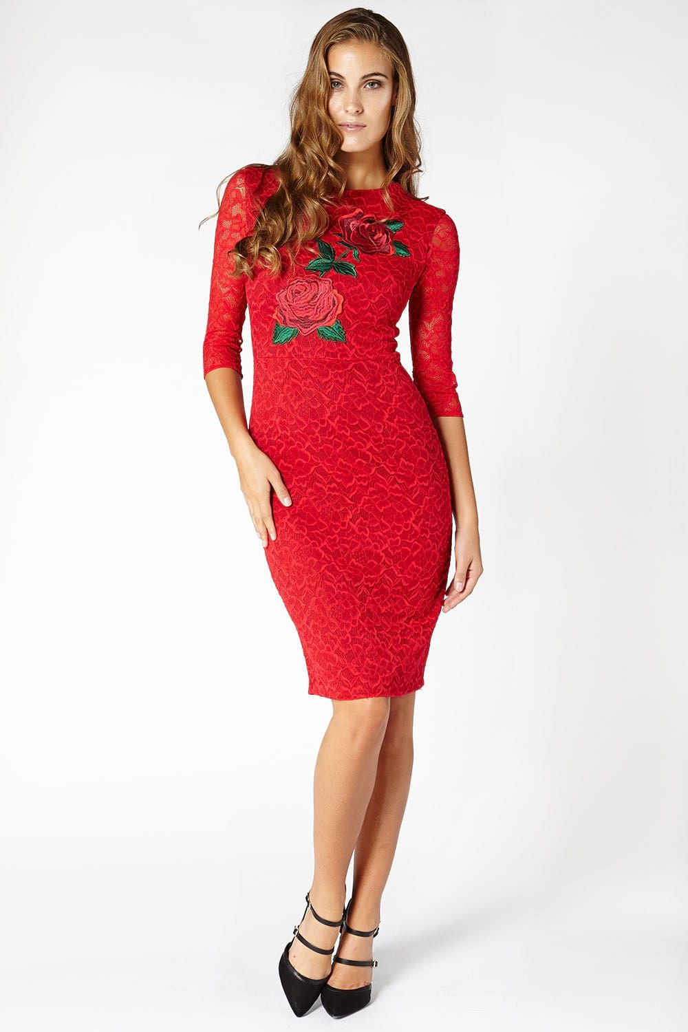 Hybrid 1179 Jaleh Floral Lace Rose Dress