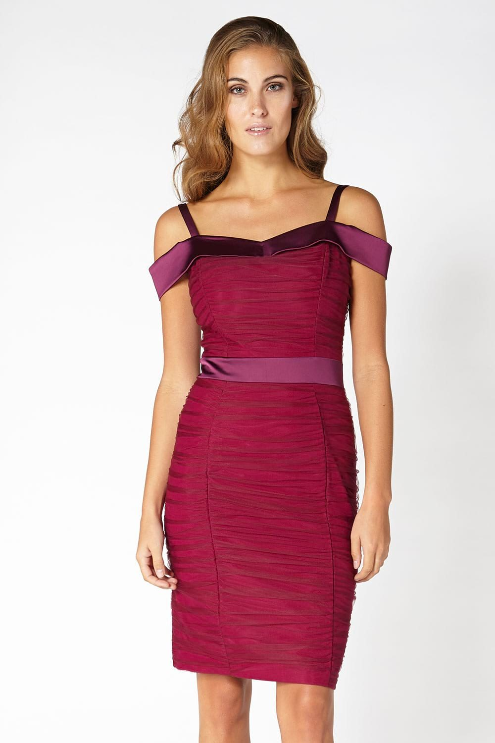 Hybrid Fashion Vivien 1184 Tulle Ruched Bodycon Dress