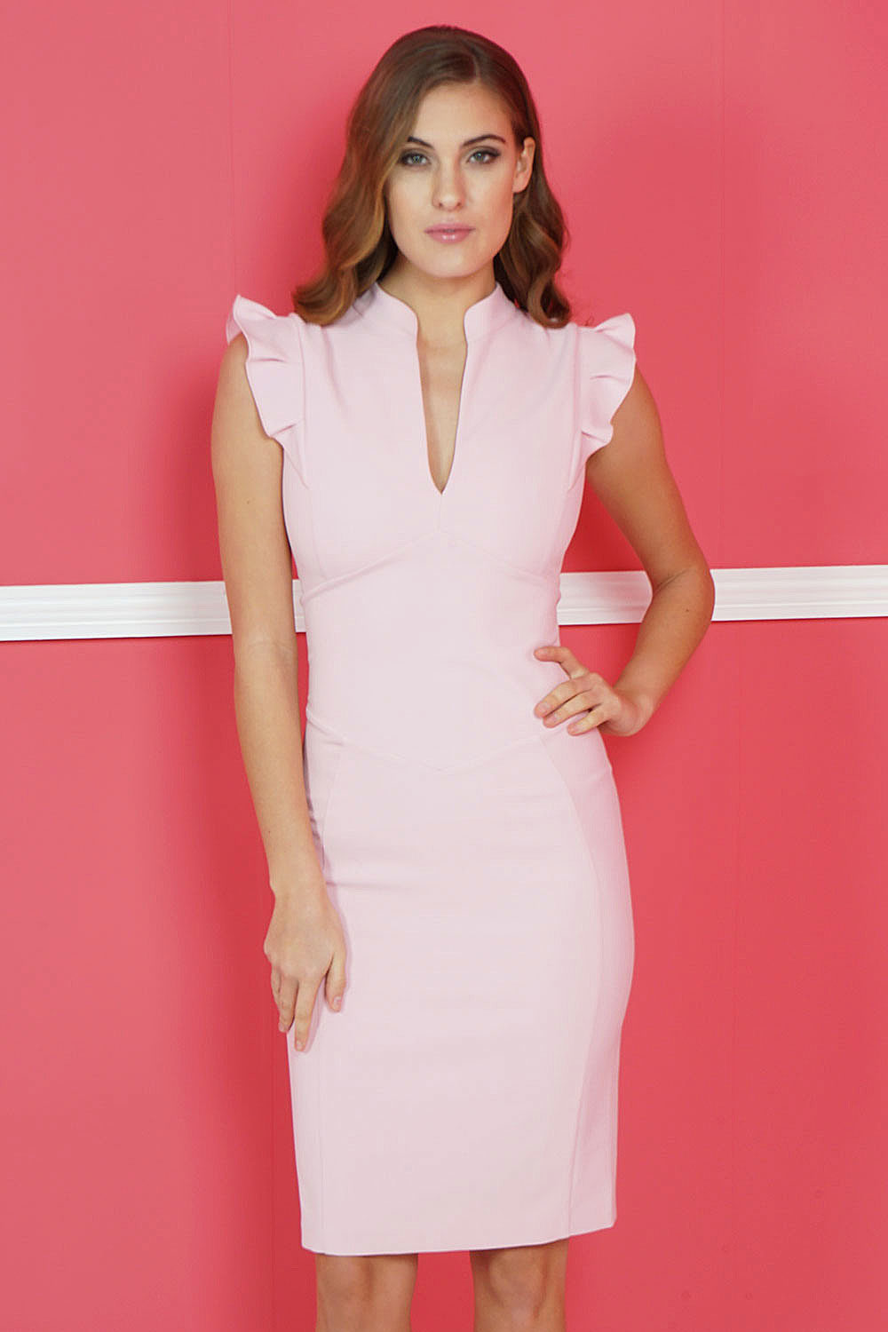 Hybrid Fashion 1202 Nicola Baby Pink Frill Pencil Dress